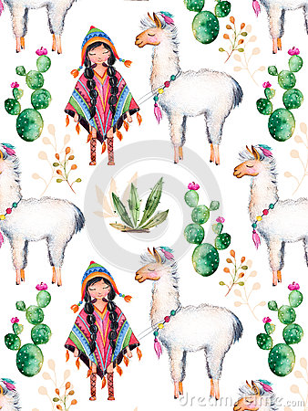 Free American Indian Girl In Traditional Poncho And Lama. Royalty Free Stock Images - 67798419
