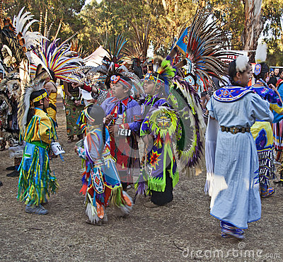 American Indian kids at Stanford PowWow Editorial Stock Photo