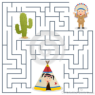 Free American Indians Maze For Kids Royalty Free Stock Photos - 31768588
