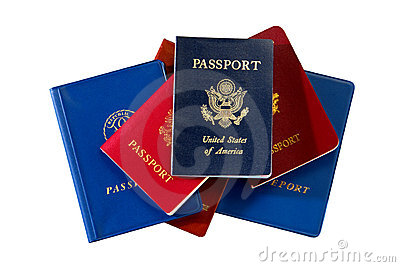 American and International Passports Isolated