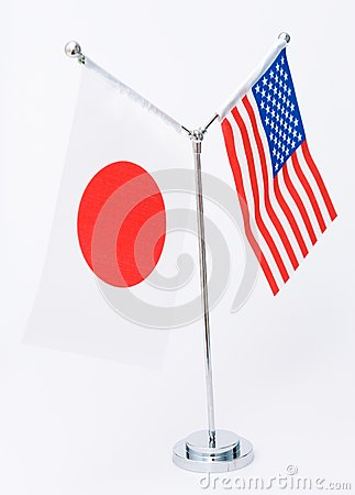 American and Japanese table flag