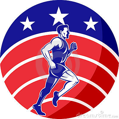 American Marathon runner stars stripes flag