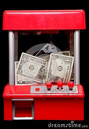 American money in a grabbing machine