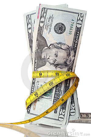 American money with a tape measure