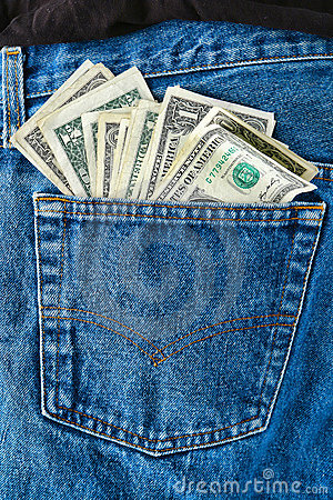 American Money US Dollar Bills in Jean Rear Pocket