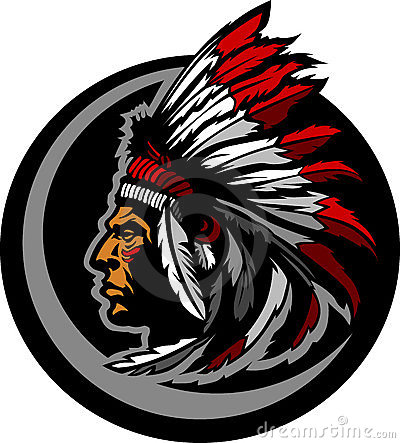 American Native Indian Chief Mascot Head Graphic