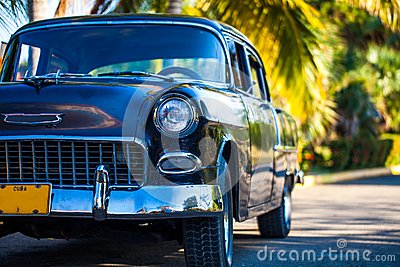 American Oldtimer in Cuba in the frnt view Editorial Photography