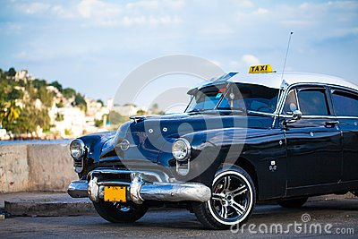 American Oldtimer in Cuba Taxi Editorial Stock Image