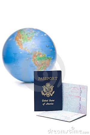 American passports stamped with travel visas in front