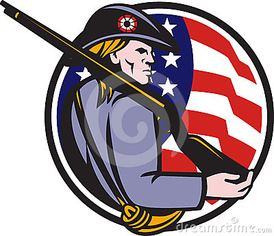 American Patriot Minuteman Rifle And Flag