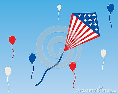 An American Patriotic Kite with Balloons