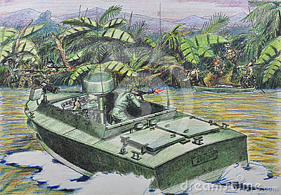 American patrol in combat with the Vietnamese guer