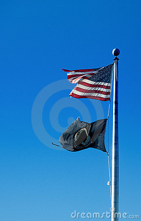 American and POW-MIA flags