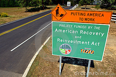 American Recovery and Reinvestment Act Road Sign Editorial Stock Photo