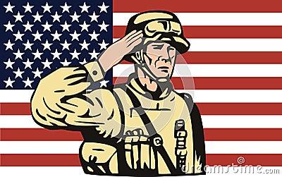American soldier saluting flag