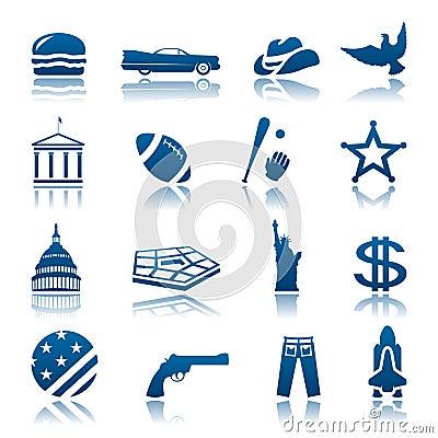 American symbols icon set