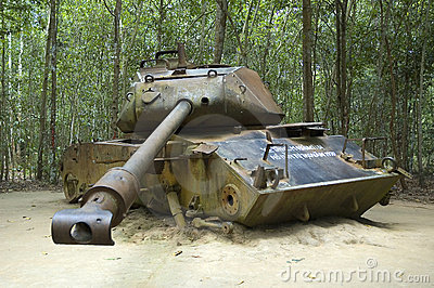 American tank destroyed during Vietnam War