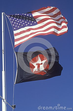 American and Texaco Flags Editorial Image
