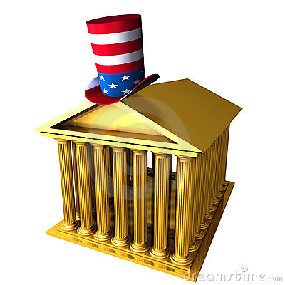 American top hat standing over stocks exchange bui