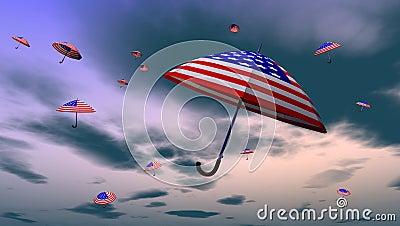 American Umbrellas In The Sky
