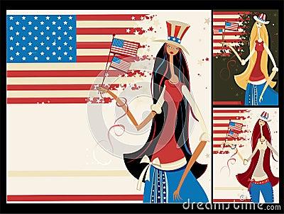 American vertical banners.