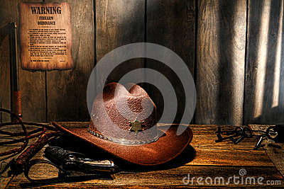 American West Legend Hat on Desk of Sheriff Office