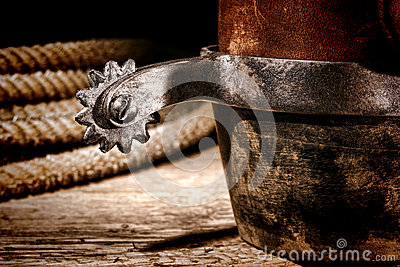 American West Rodeo Cowboy Boot and Western Spur