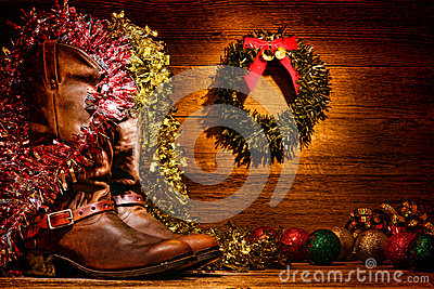 American West Rodeo Cowboy Boots Christmas Card