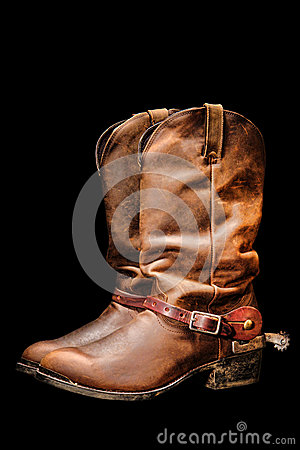 American West Rodeo Cowboy Boots Isolated on Black