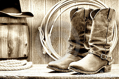 Old West Cowboy Boots & Spurs Royalty Free Stock Photo - Image: 532705