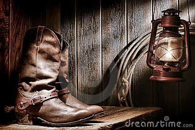 American West Rodeo Cowboy Boots in Old Ranch Barn