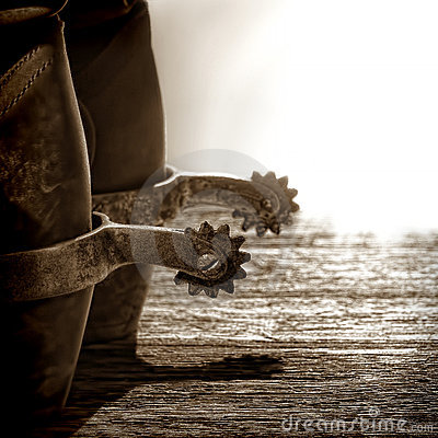 American West Rodeo Cowboy Boots with Riding Spurs