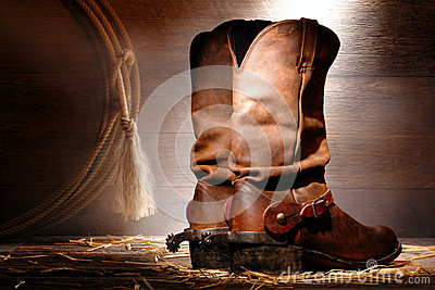 American West Rodeo Cowboy Boots and Riding Spurs
