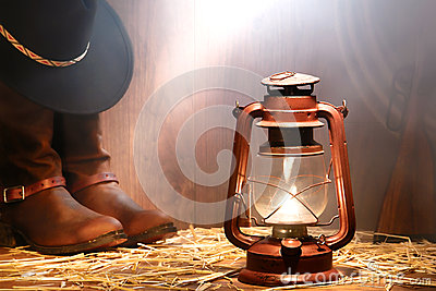 American West Rodeo Cowboy Gear and Kerosene Lamp
