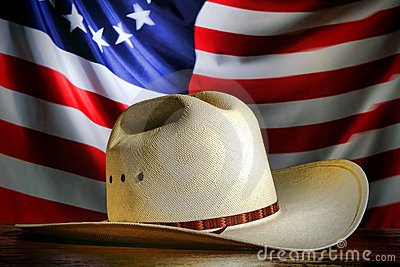 American West Rodeo Cowboy Hat and American Flag