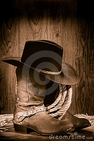 American West Rodeo Cowboy Hat atop Western Boots