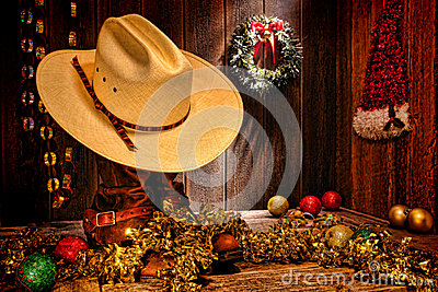 American West Rodeo Cowboy Hat Christmas Card
