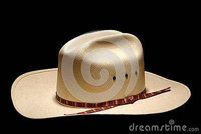 American West Rodeo Cowboy Hat Isolated on Black