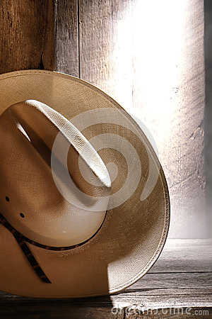 American West Rodeo Cowboy Hat in Old Barn