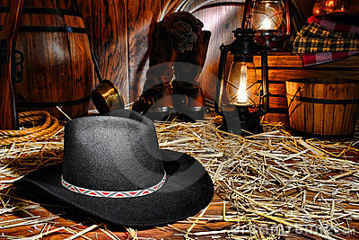 American West Rodeo Cowboy Hat in Old Western Barn