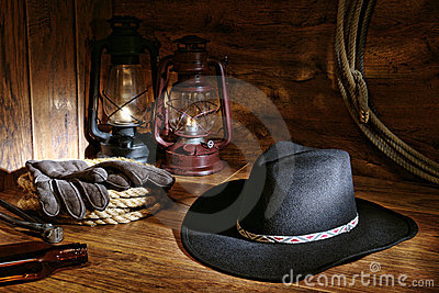 American West Rodeo Cowboy Hat and Ranching Tools