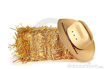 American West Rodeo Cowboy Hat and Straw Bale
