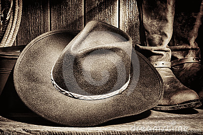 American West Rodeo Cowboy Hat and Western Boots