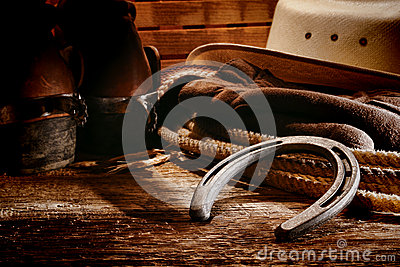 American West Rodeo Cowboy Old Horseshoe and Gear