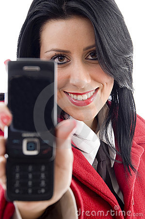 American woman showing her cell phone
