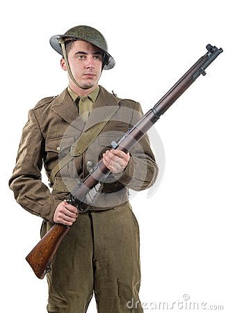 Free American World War 1 Soldier. 1917-18 On White Royalty Free Stock Photo - 104778145