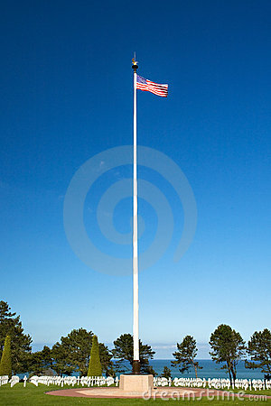 American WWII Cemetery and Flag at Omaha Beach