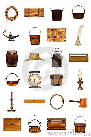 Americana antykwarskiej kolekci odosobneni przedmioty starzy