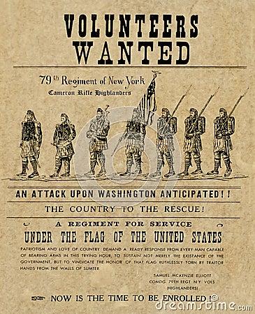 Amerikaanse burgeroorlogaffiche