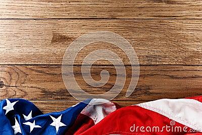 Amerikaanse vlag op hout